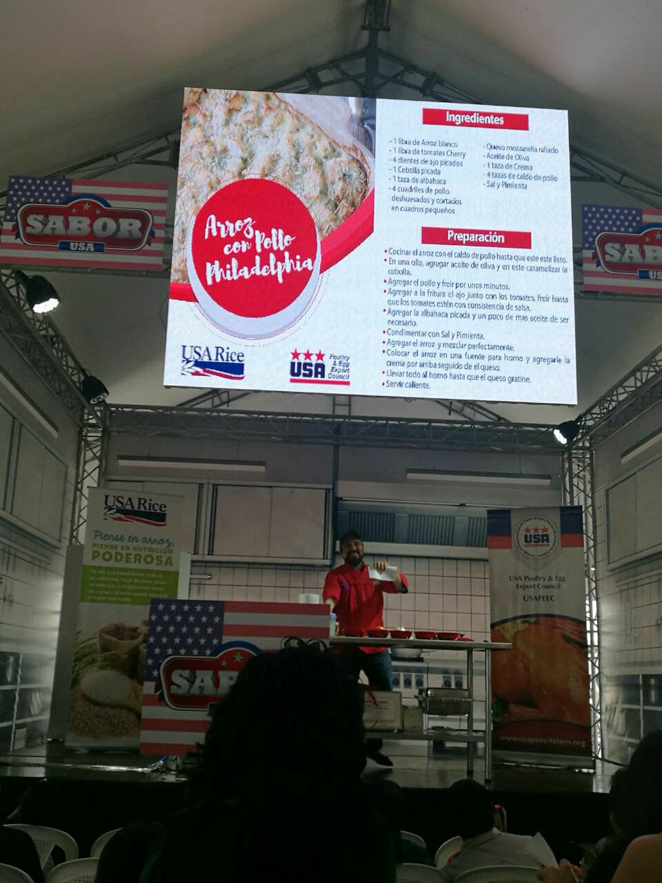 Rice cooking demonstration at the USDA/FAS event, Sabor USA, in Guatemala