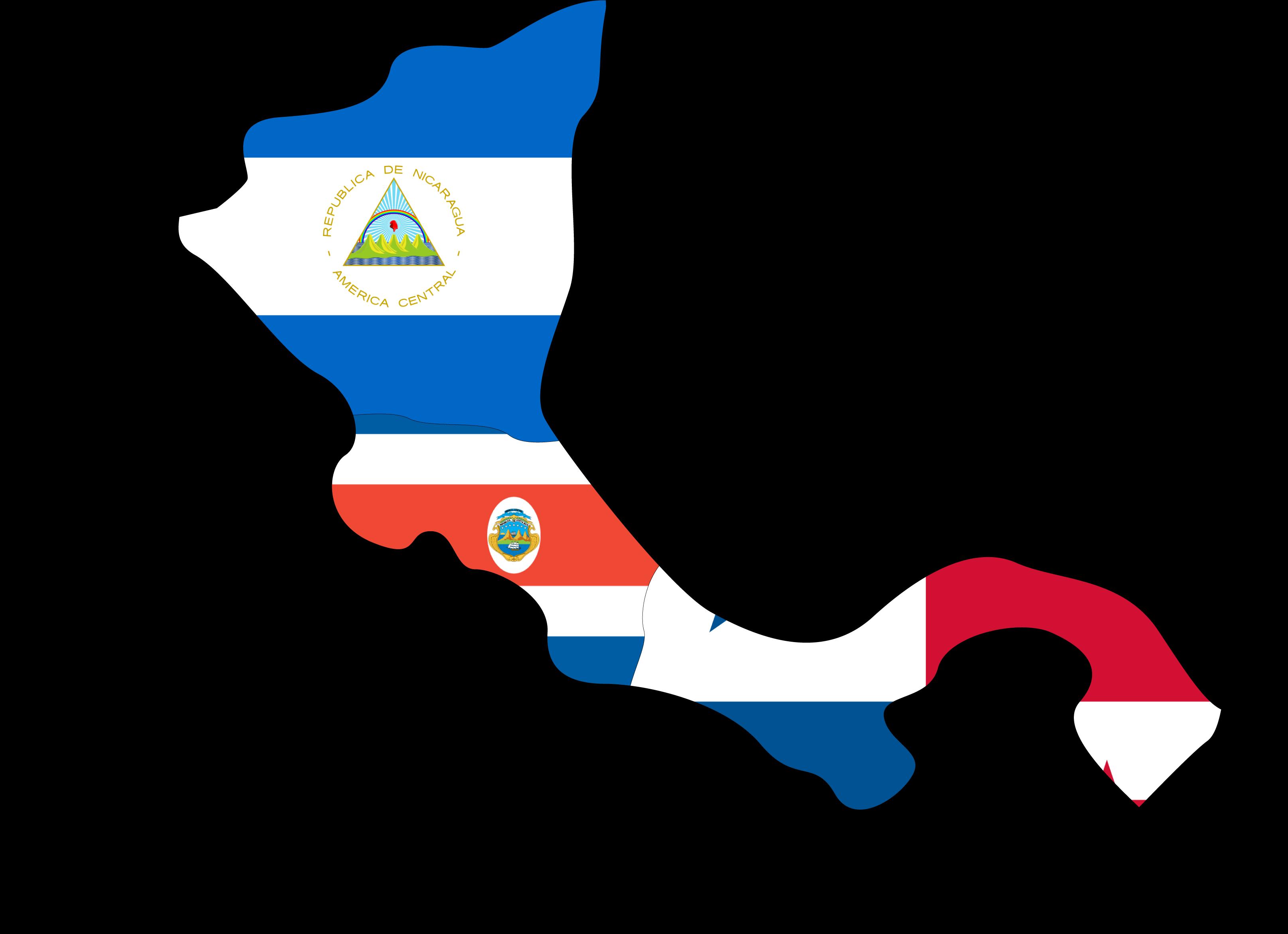 Map of Nicaragua, Costa Rica, and Panama.