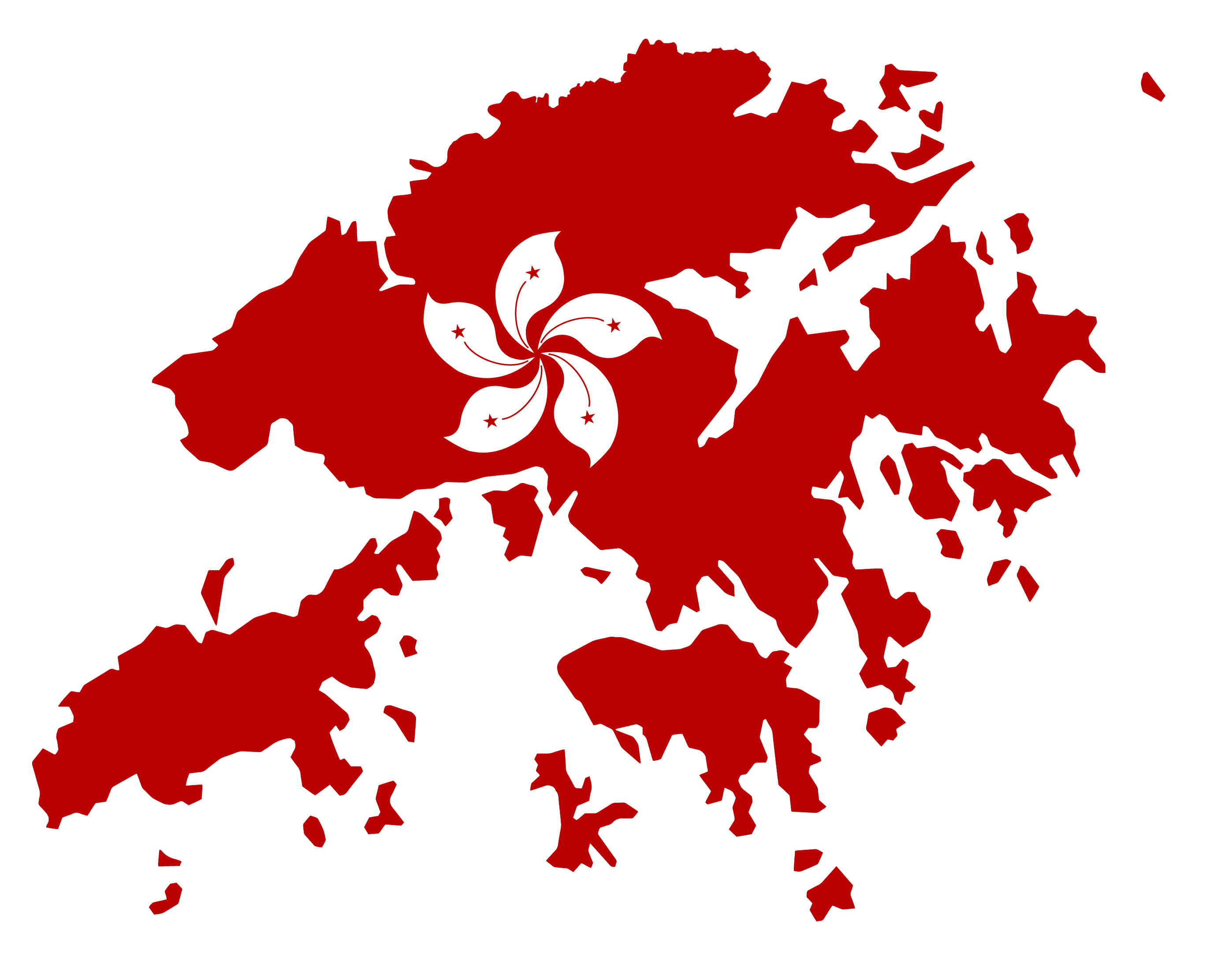 Map of Hong Kong with flag overlay