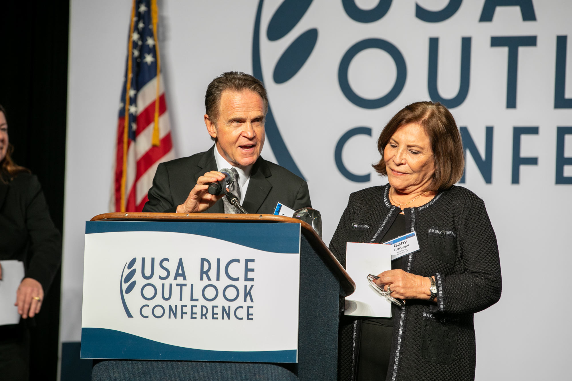 Marvin Lehrer and Gaby Carbajel were honored for two decades tirelessly promoting U.S. rice in Mexico