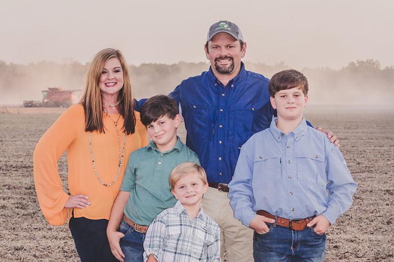 Rice farmer Jason Waller and his family