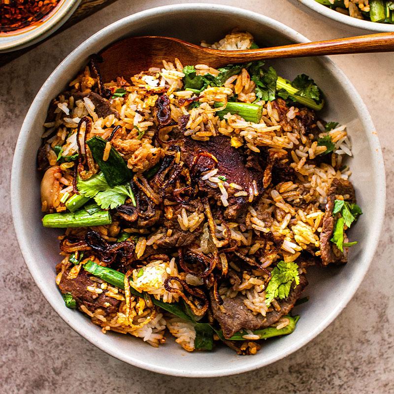 Overhead image of a bowl of Bulgogi Fried Rice