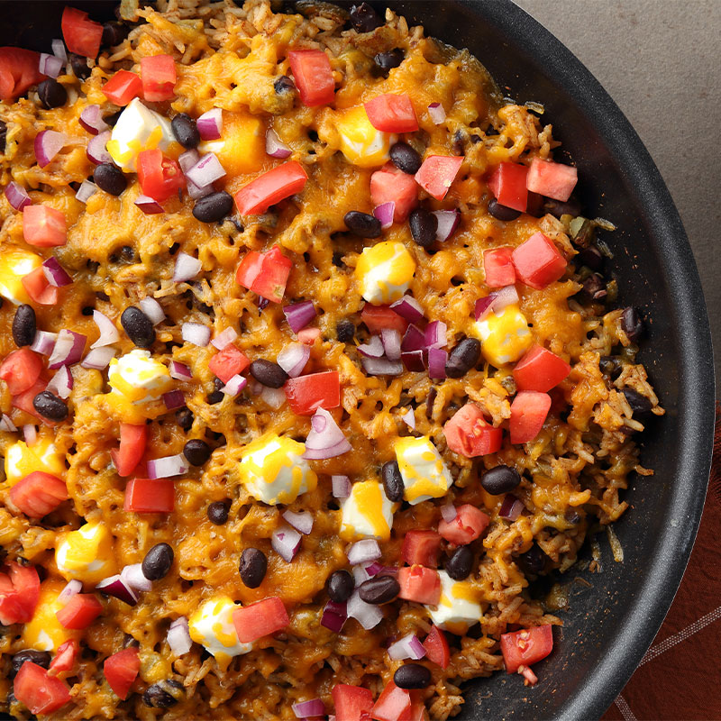 Overhead view of Creamy Cheeseburger Skillet Rice