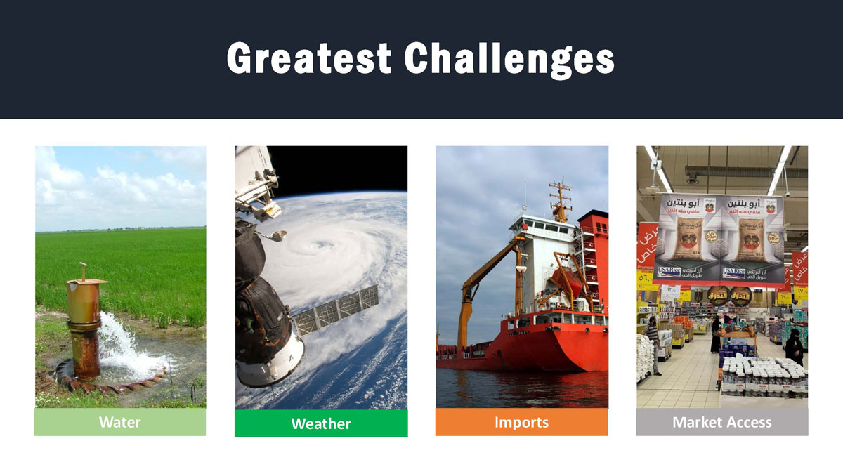 """Slide shows """"greatest challenges:"""" water, weather, imports, and market access"""