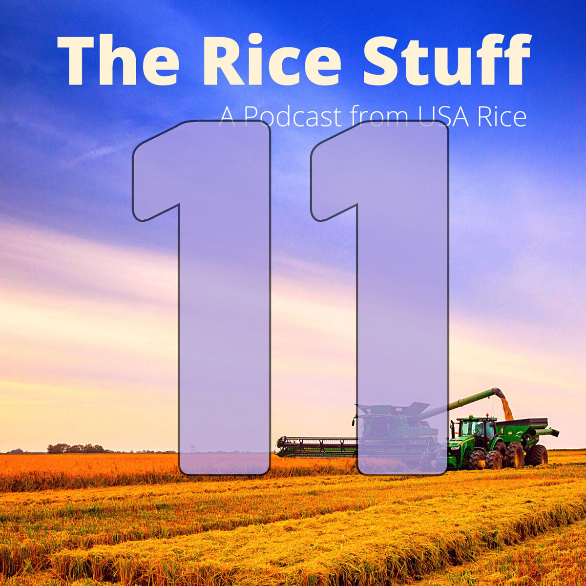 Number 11 superimposed over photo of combine and grain cart in mature rice field