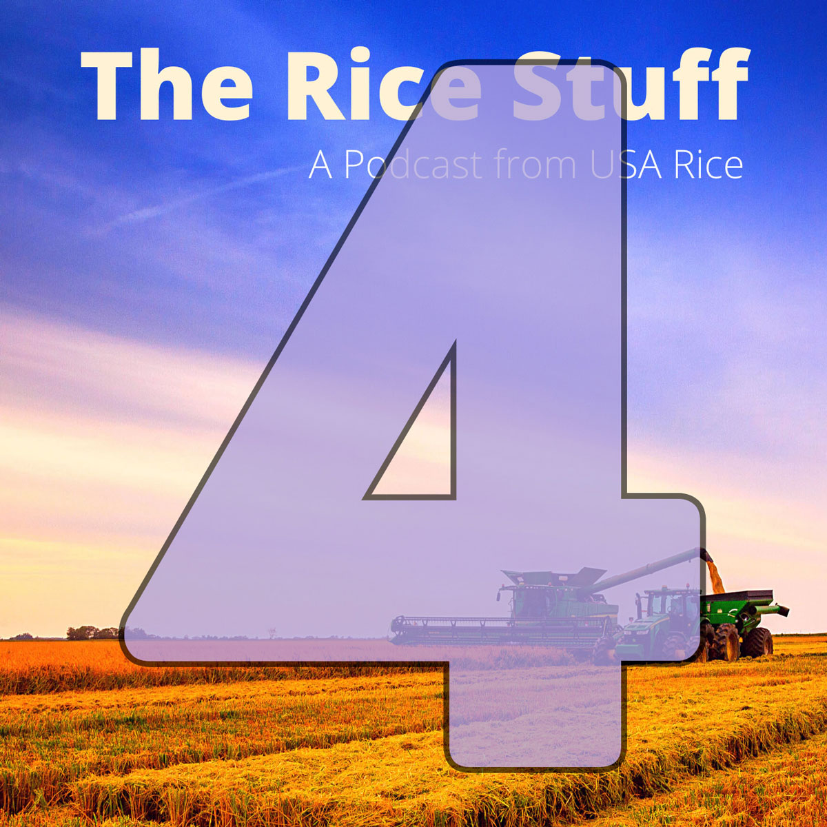 Number 4 superimposed over photo of combine and grain cart in mature rice field