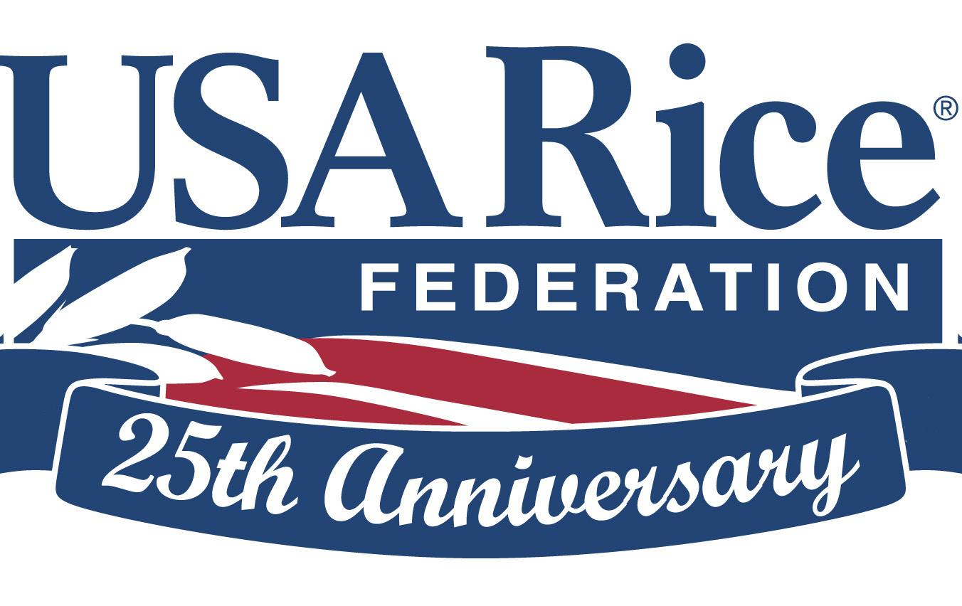 Red, white and blue USA Rice Federation logo with 25th Anniversary banner