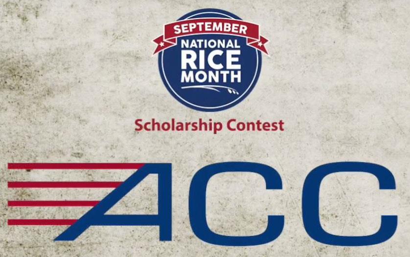 """NRM logo + text """"Scholarship Contest"""" + ACC logo on stone-like background"""