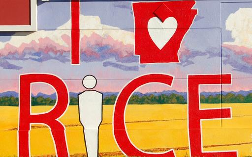 "Colorful mural painted on wall with red text: I ""heart"" inside the outline of the state of Arkansas Rice"