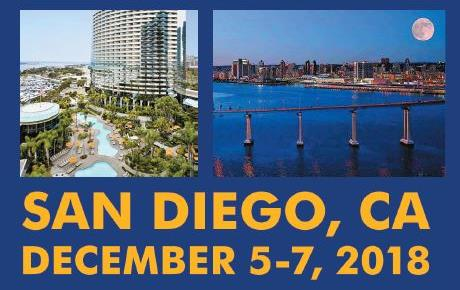 """Two photos, left is aerial view of highrise hotel, right is nighttime scene of bridge over bay with city skyline in background & full moon, above gold text """"San Diego, CA December 5-7, 2018"""""""