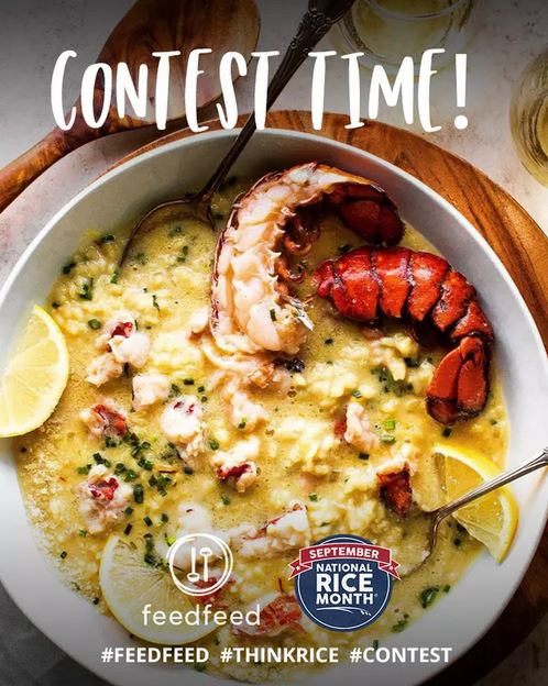 2021 FeedFeed Recipe Contest Ad shows bowl of paella with logos and hashtags