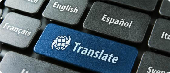 """Blue """"Translate"""" computer button surrounded by gray buttons displaying language choices: """"English,"""" """"Espanol,"""" """"Francais,"""" etc."""