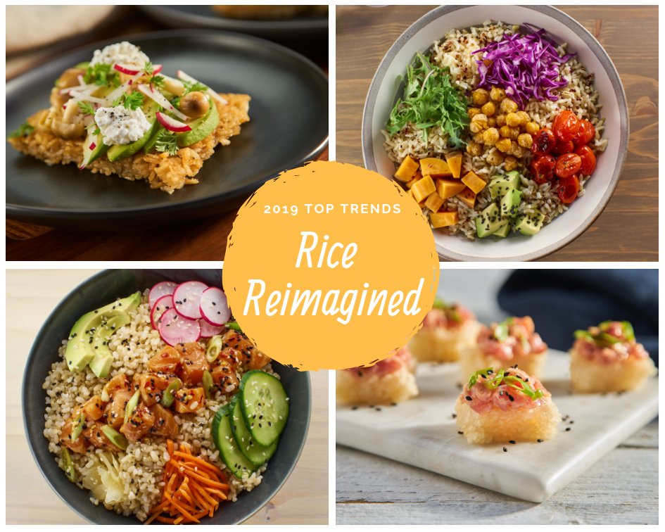 "Collages with four colorful rice dishes, gold circle in the center of the photographs with text ""2019 Top Trends, Rice Reimagined"""