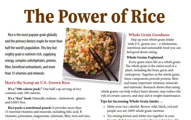 """Copy of newsletter titled """"The Power of Rice"""" with photo of rice dish and black chopsticks with accompanying text"""