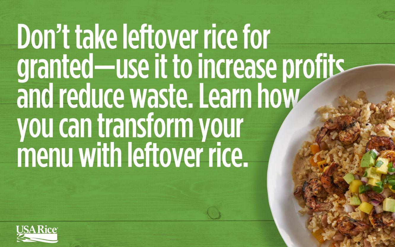Leftover rice information text next to colorful rice bowl on green background