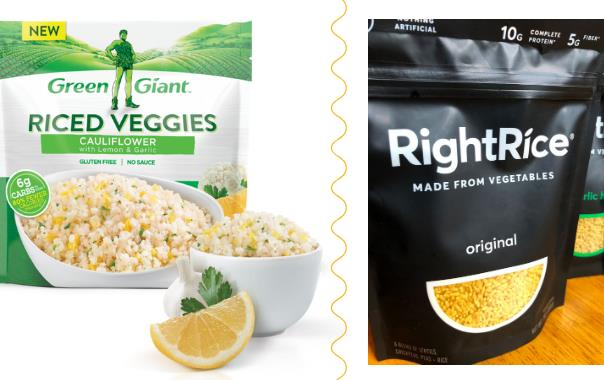 Dueling photos of Green Giant riced veggies and Right Rice made from vegetables