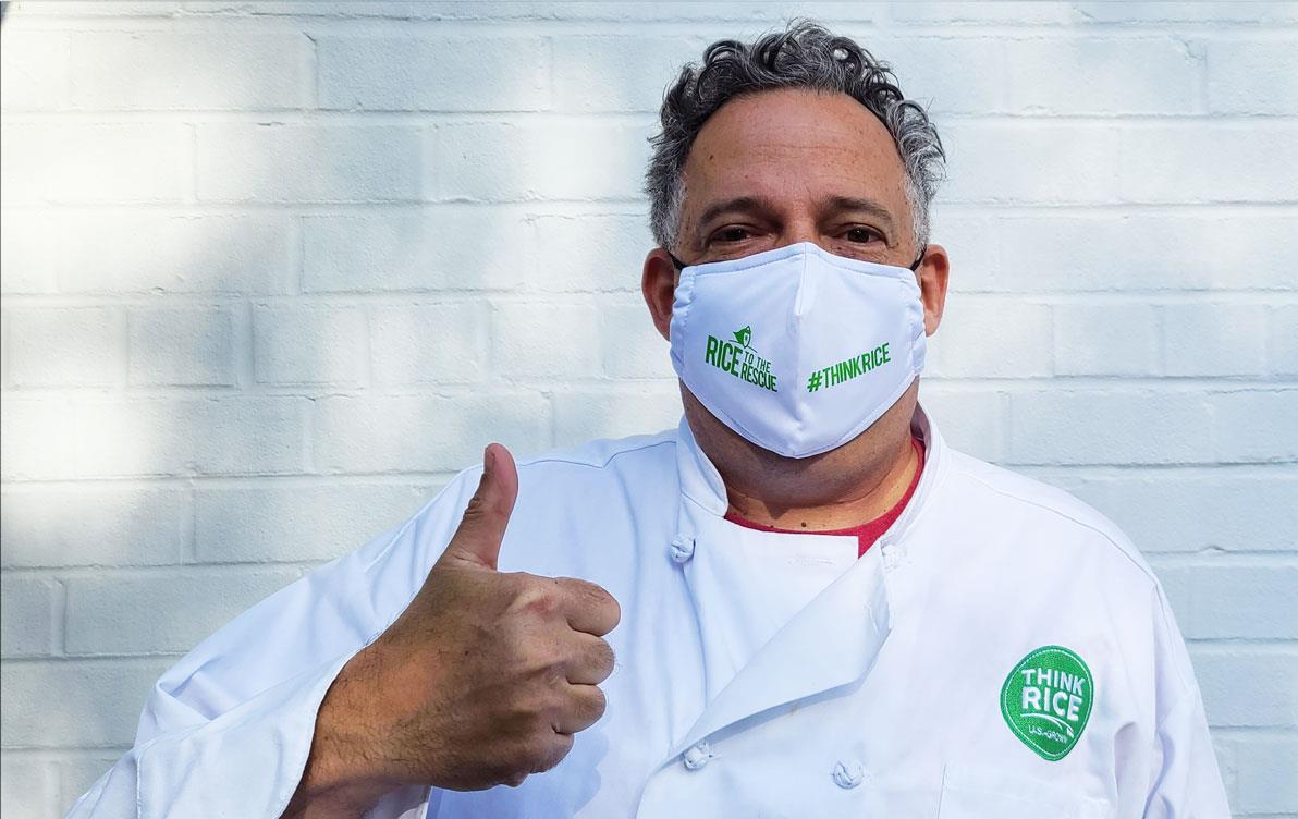 Man wears white chef