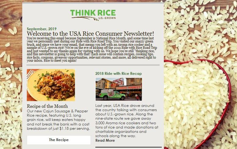 New Consumer Newsletter superimposed over photo showing white rice spilling out of heart-shaped mold onto wooden planks