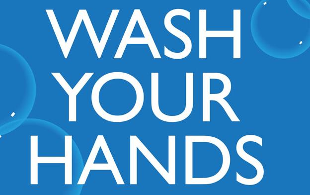 CDC poster, text on blue background: Keep-calm- and wash-your-hands