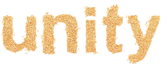 """The word """"unity"""" spelled out in rice"""