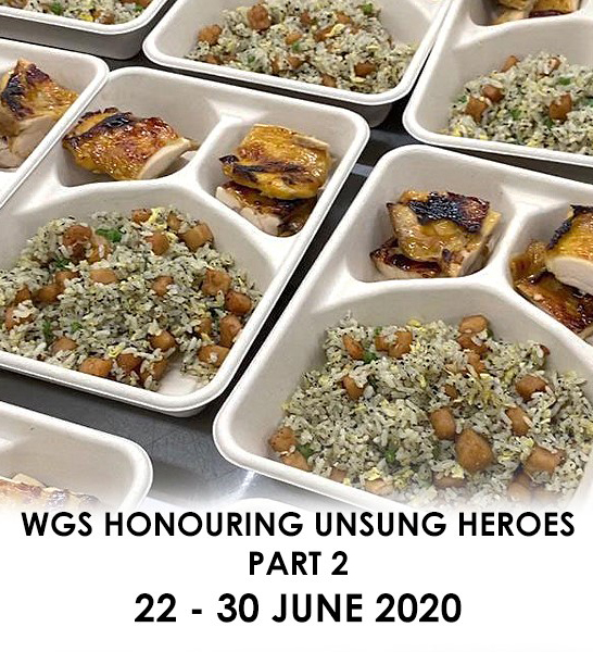Unsung Heroes Event poster shows take-out meals of rice and chicken
