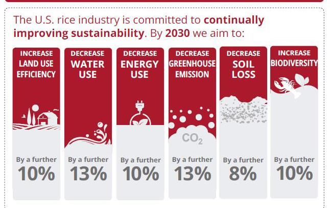 Sustainbility infographic, 2030 goals show decreased land, water, and energy use