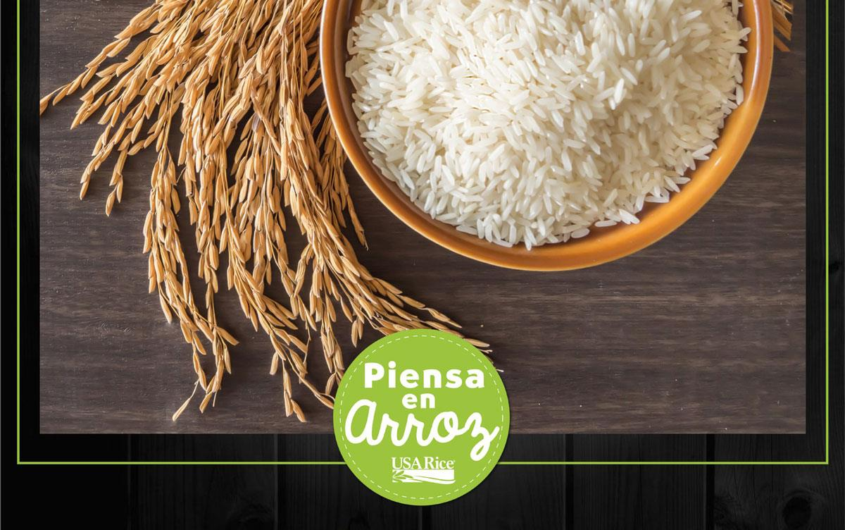 Piensa-en-Arroz-poster with bowl of white rice and sheath of ripe rice
