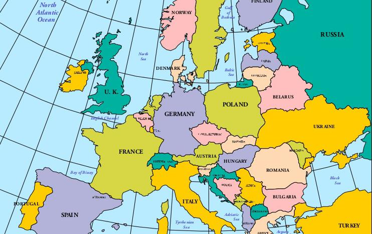 Colorful map of UK and Europe