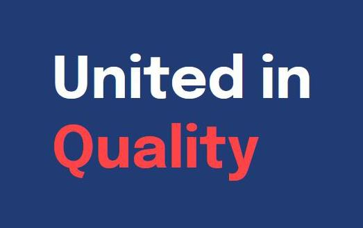 """Text """"United in Quality"""" in white and red on blue background"""