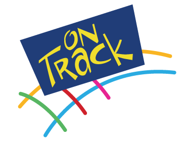 """Blue box with """"On Track"""" in yellow on top of colorful train track graphic"""
