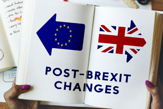 """Hands with purple painted nails holds open book with EU and UK flags and text:  """"Post-Brexit Changes"""""""