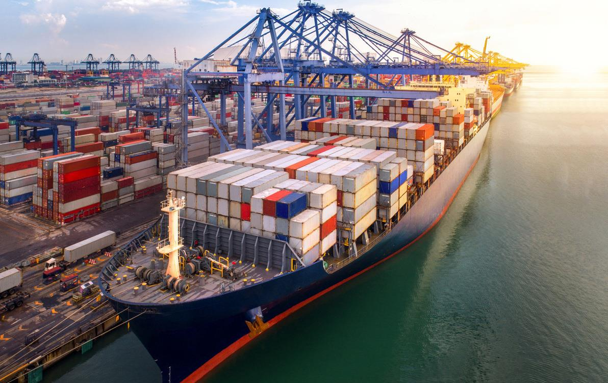 Commercial vessels loaded with shipping containers, in port