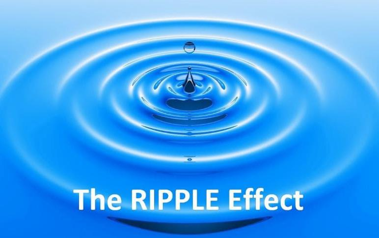 "Bright blue water with one drop causing a ripple effect, white text ""Ripple Effect"""