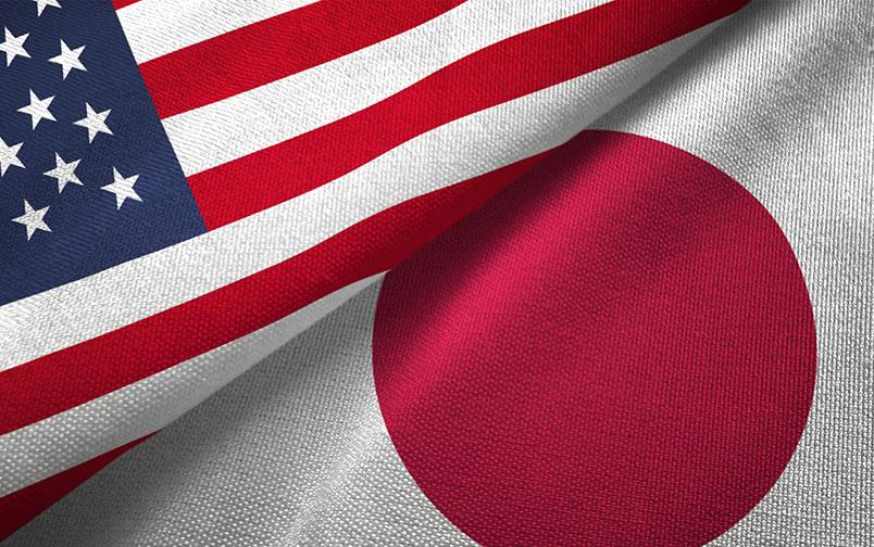 Close up of US & Japan flags