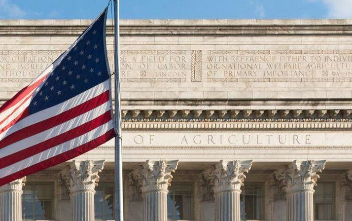 Front of USDA Bldg with US Flag