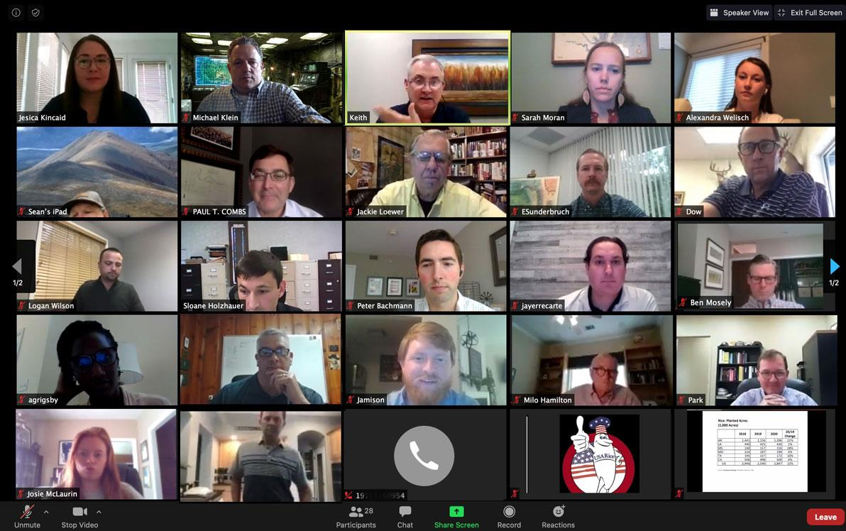 Screen shot of Zoom-meeting with different faces appearing in small boxes