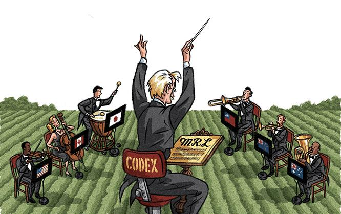 Maestro conducts musicians from different countries playing different instruments, Sean Kelly illustration-200820