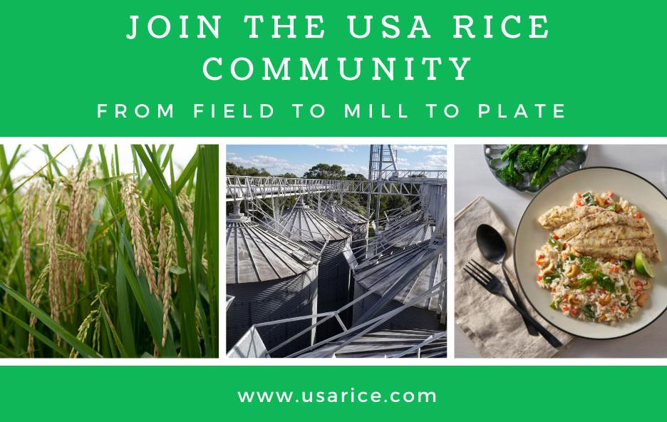 Join-USA-Rice-Community-graphic, with photos of rice plants, rice mill, and rish meal