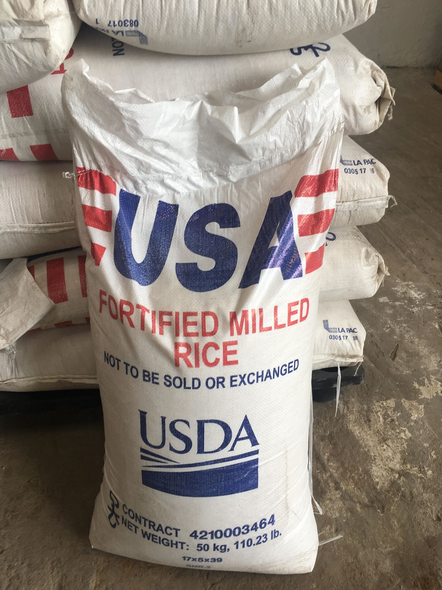 Image of a bag of Fortified Rice from the USA
