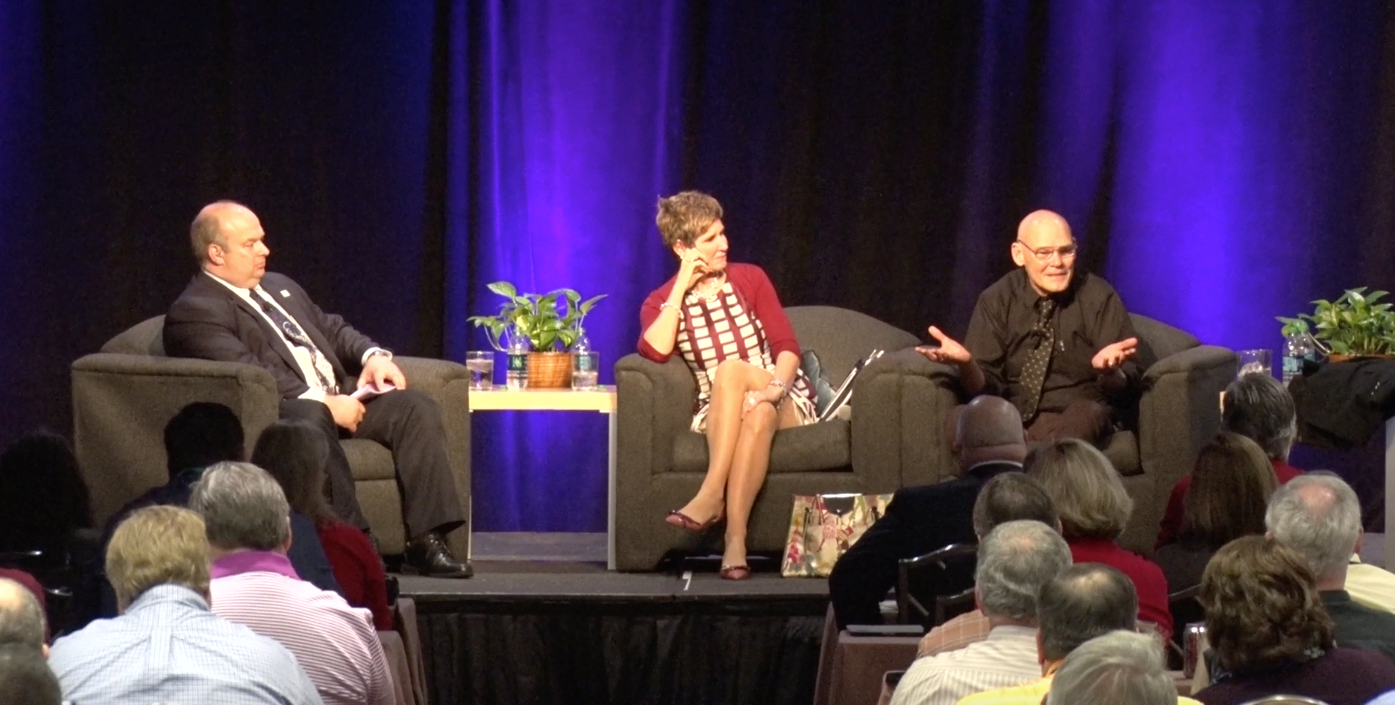 Brian King on stage with Matalin and Carville