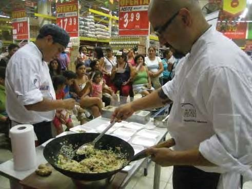 In-store rice demonstration in Peru