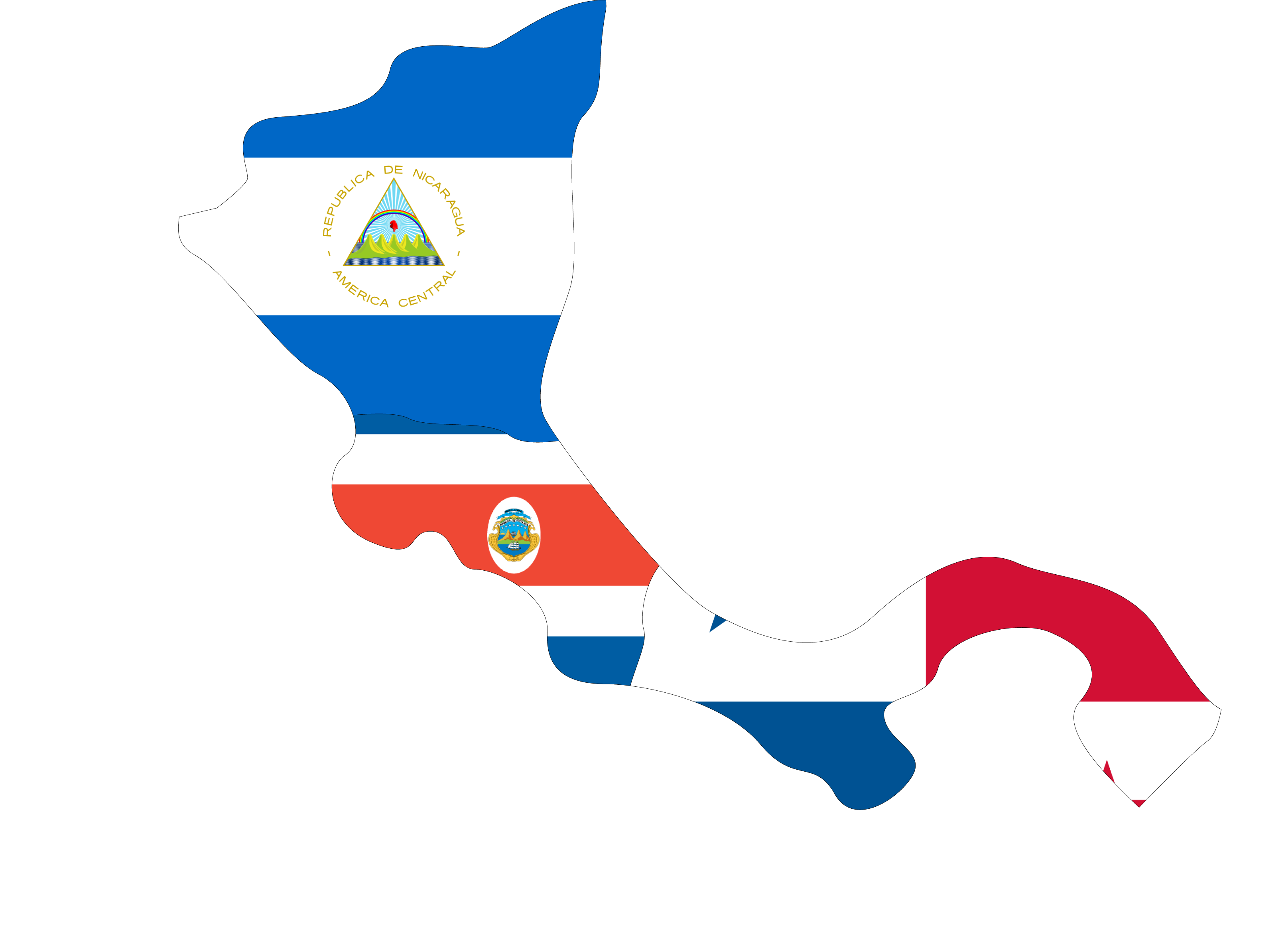 Map of Nicaragua, Costa Rica, and Panama.