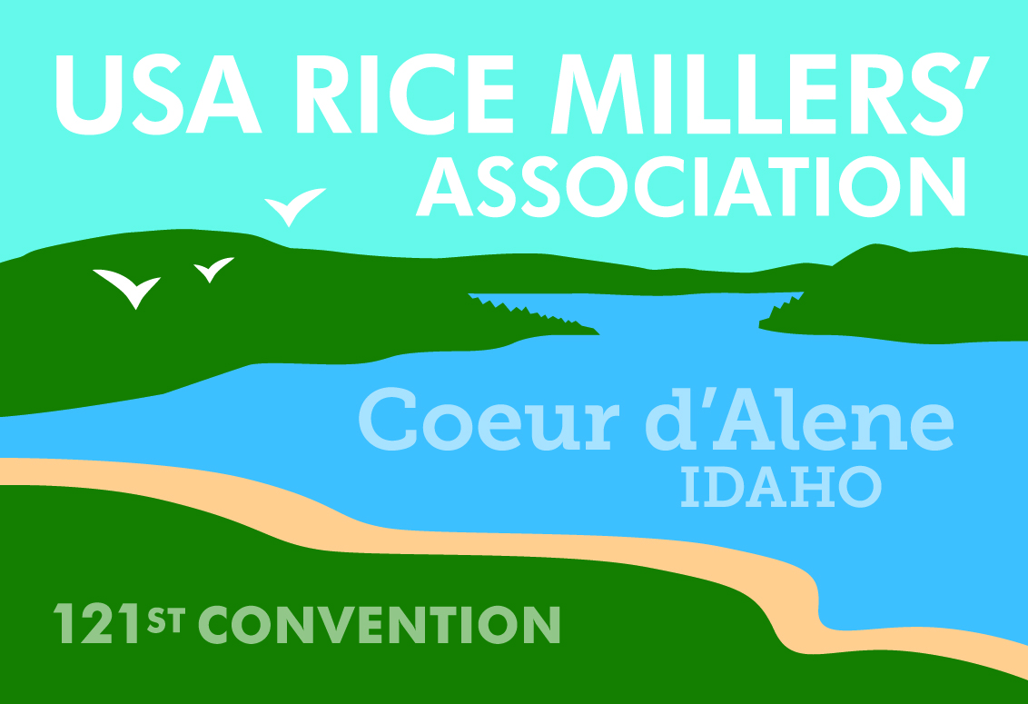 RMA Conference Logo, blue lake, green hills, golden beach