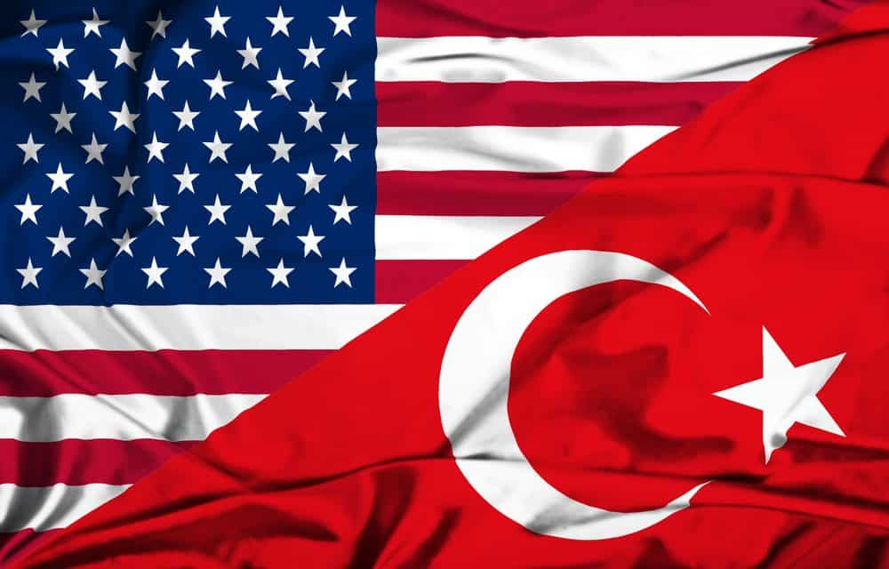 US flag and Turkey flag (red with white half moon and star)