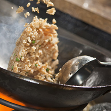 Rice cooking in a wok