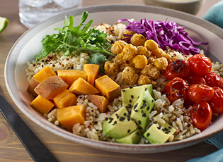 Side view of a super foods rice bowl.