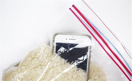 Overhead view of a cell phone in a plastic bag with raw rice grains.