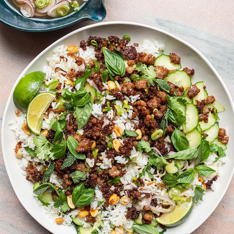 Overhead shot of Crispy Pork Rice Salad on a white dish garnished with cilantro and lime wedges.