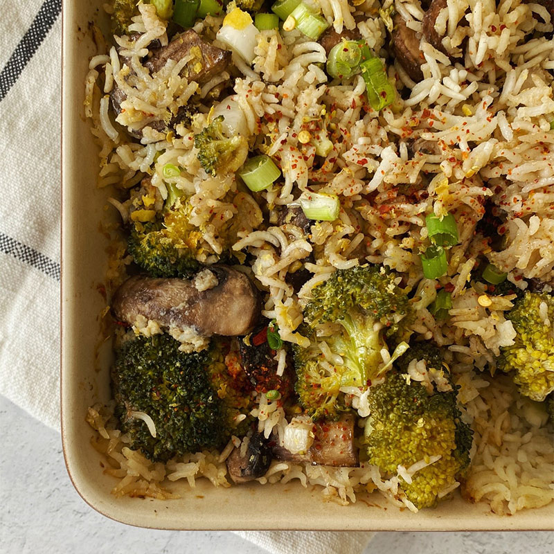 Overhead image of a corner of One-Dish Broccoli & Mushroom Bake.