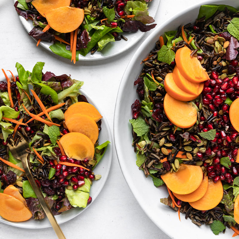 Overhead image of a serving bowl full of Wild Rice holiday salad and two smaller plates of the salad.